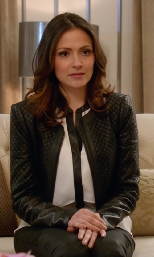 Italia Ricci with BCBGMAXAZRIA Cohen Faux Leather Jacket in Supergirl