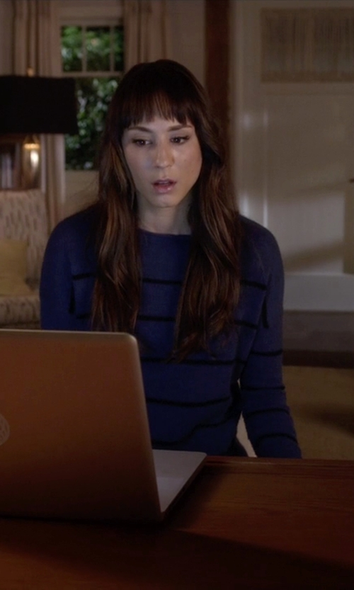 Troian Bellisario with Tory Burch Lurex Striped Sweater in Pretty Little Liars