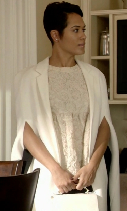 Grace Gealey with Givenchy Cape Blazer in Empire