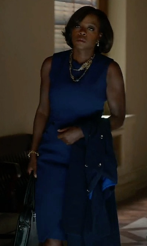 Viola Davis with Victoria Beckham Sleeveless Wool Dress in How To Get Away With Murder