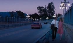 Ryan Gosling with Colorado Street Bridge Pasadena, California in La La Land