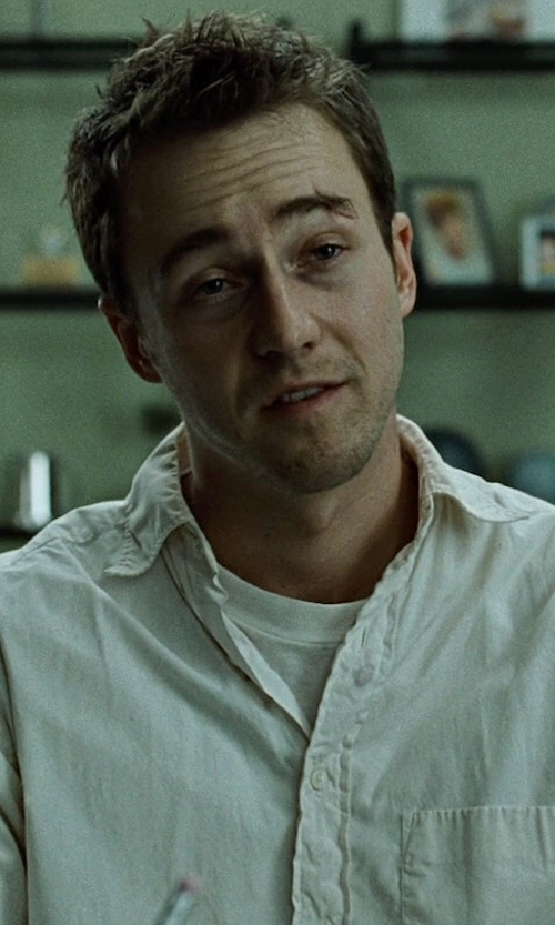 Edward Norton with Officine Generale End-On-End Dress Shirt in Fight Club