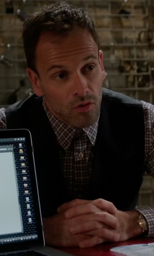 Jonny Lee Miller with Topman Black Textured Vest in Elementary