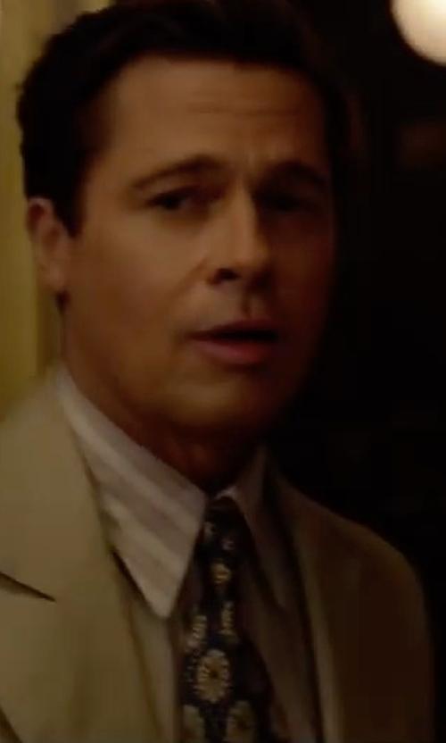 Brad Pitt with Ermenegildo Zegna Medallion Silk Tie in Allied