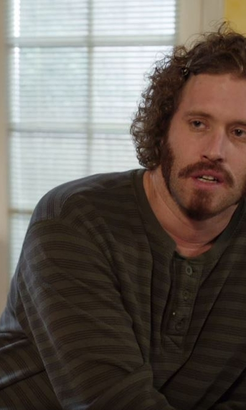 T.J. Miller with Modern Culture Printed Stripe Henley Shirt in Silicon Valley