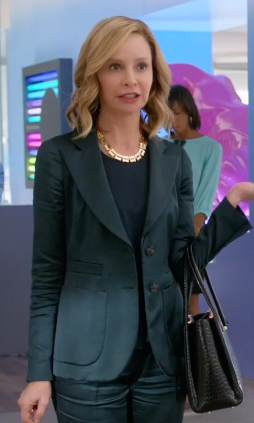 Calista Flockhart with Theory Peaked Lapel Blazer in Supergirl