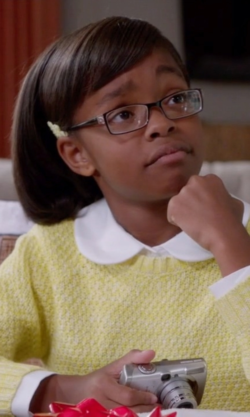 Marsai Martin with Ralph Lauren Little Girls' Linen Sweater in Black-ish