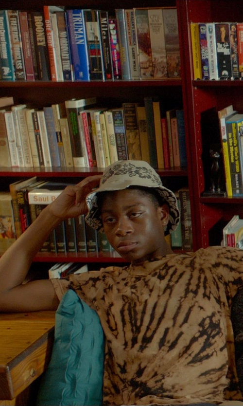 RJ Cyler with Engineered Garments Cotton Linen Floral Print Bucket Hat in Me and Earl and the Dying Girl