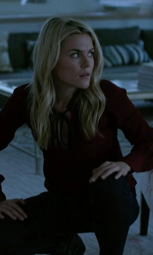 Rachael Taylor with Joie Skinny Tie 70s Blouse in Jessica Jones
