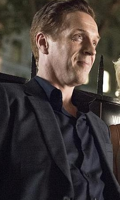 Damian Lewis with Paul Smith Men's Tailored-Fit Navy Cotton 'Byard' Shirt in Billions