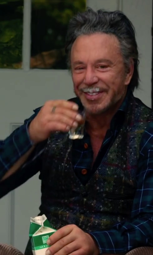 Mickey Rourke with Brook Brothers Regent Fit Plaid Sport Shirt in Ashby