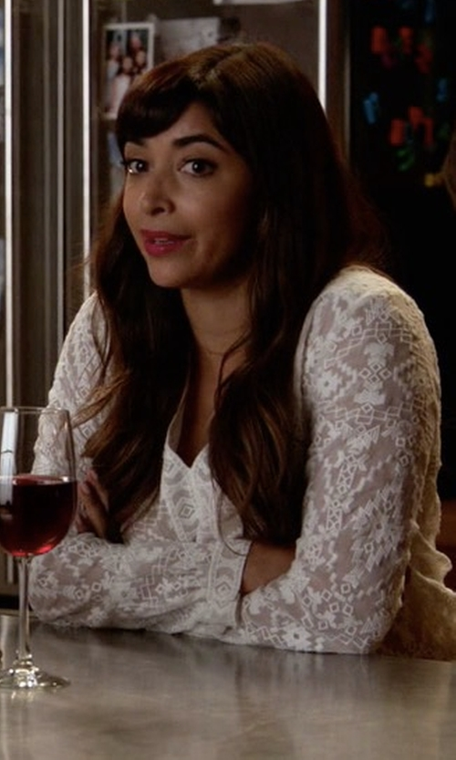 Hannah Simone with Rebecca Taylor Embellished Top in New Girl