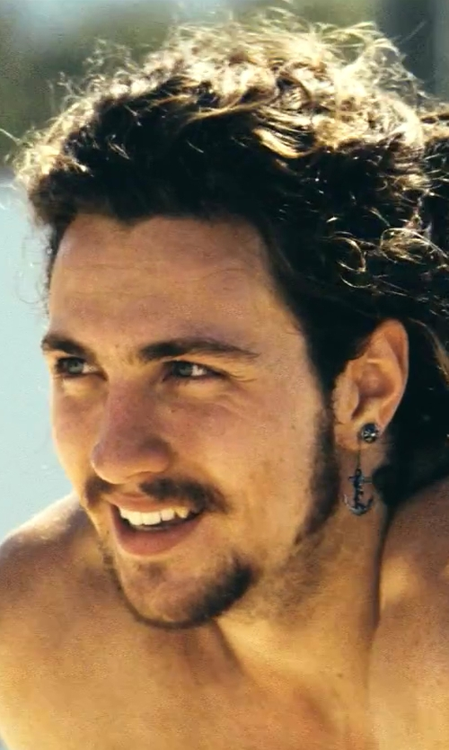 Aaron Taylor-Johnson with Pennyroyal Studio Harbor Collection Sterling Silver Anchor Hook Earrings in Savages