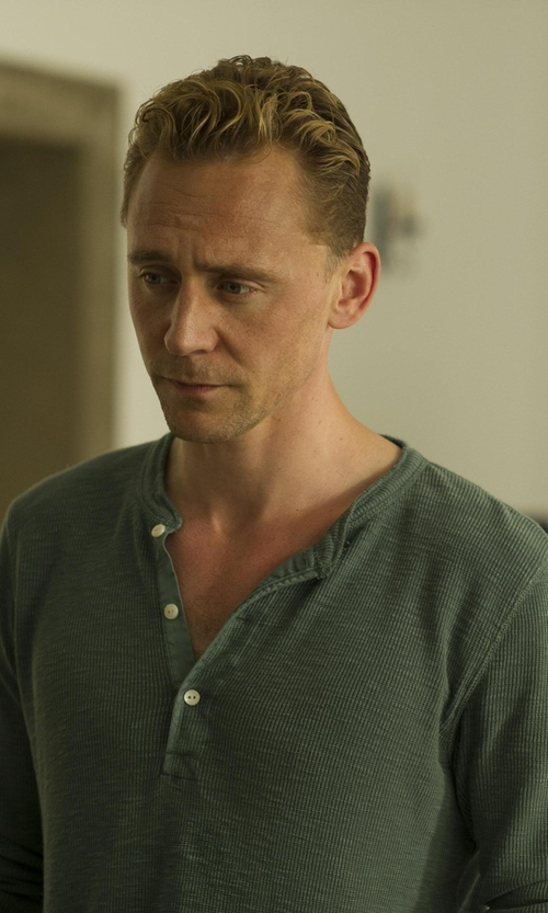 Tom Hiddleston with Rag & Bone Standard Issue Henley Shirt in The Night Manager