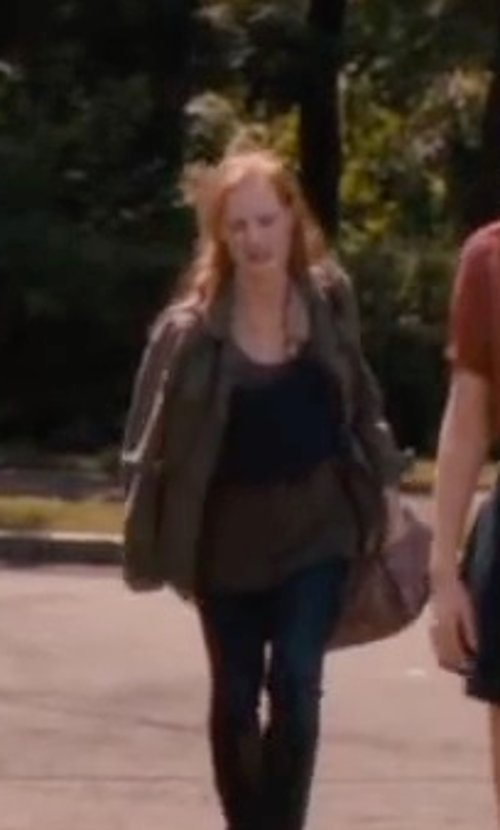 Jessica Chastain with Free people Long Beach Tank Top in The Disappearance of Eleanor Rigby
