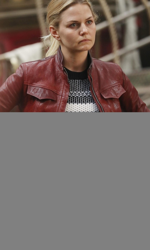 Jennifer Morrison with Sonia by Sonia Rykiel Bordeaux Collared Leather Jacket in Once Upon a Time