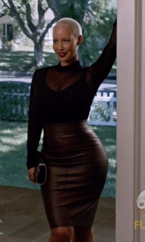 Amber Rose with Express High Waist Leather Pencil Skirt in Black-ish