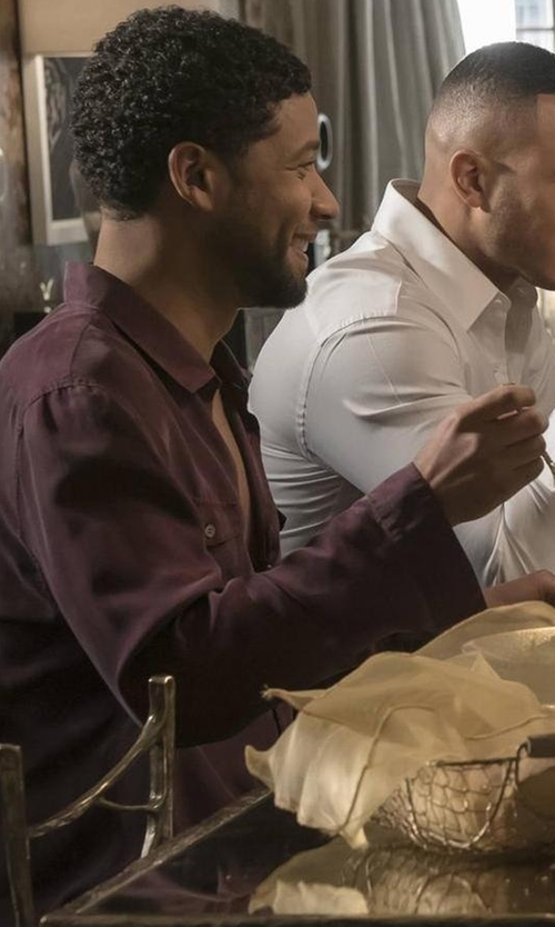 Jussie Smollett with Eton Contemporary-Fit Two-Tone Dress Shirt in Empire
