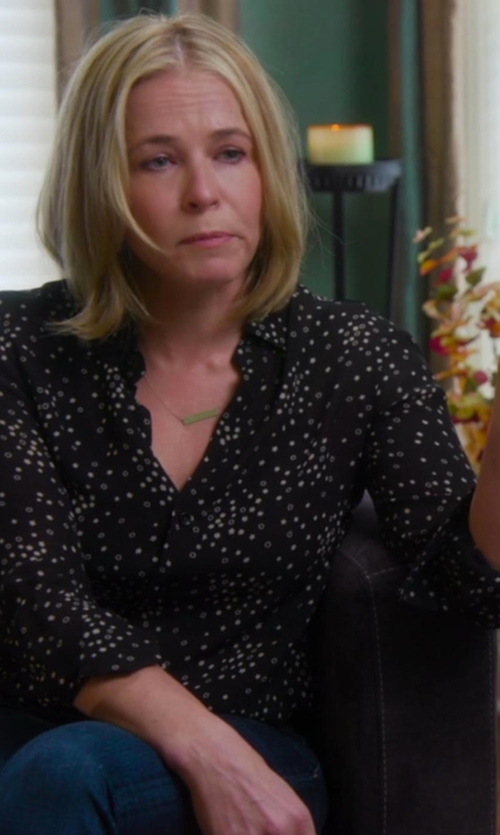 Chelsea Handler with Topshop Boutique Polka Dot Silk Shirt in Chelsea