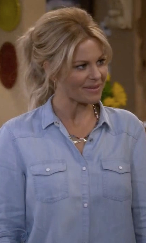 Candace Cameron Bure with Lucky Brand Classic Western Shirt in Fuller House