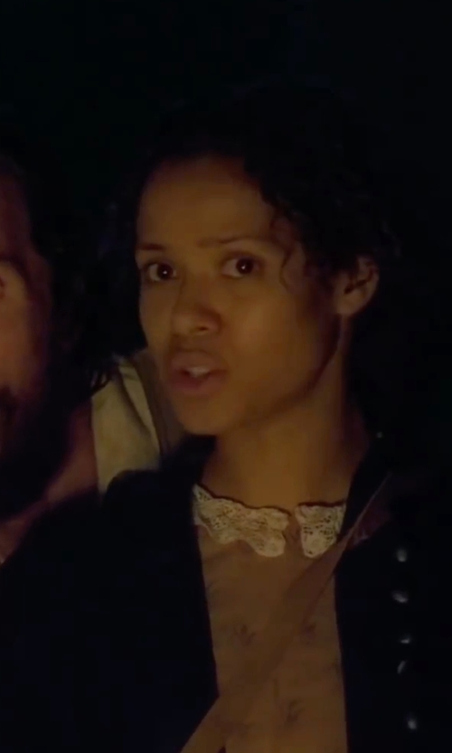 Gugu Mbatha-Raw with Classiques Entier 'Harper' Silk & Cotton Open Front Cardigan in Free State of Jones