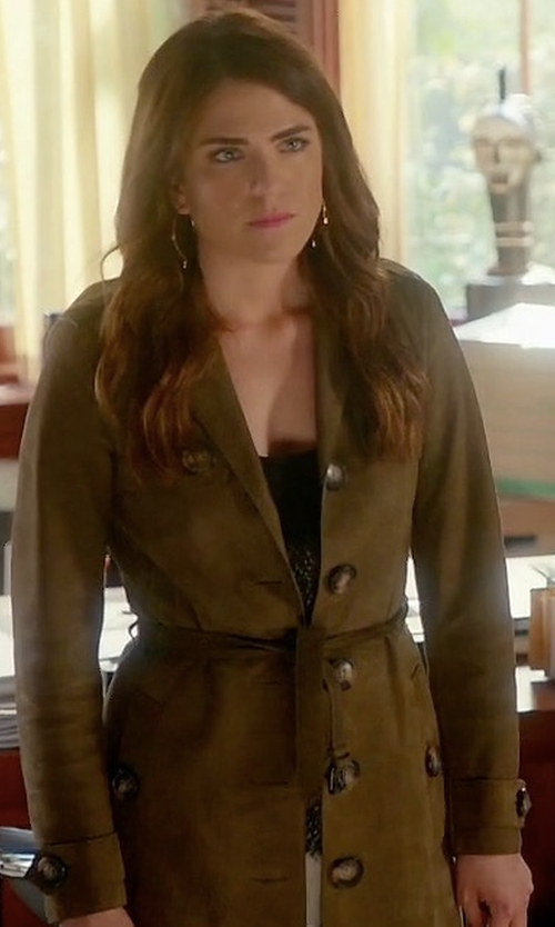 Karla Souza with Burberry Brit 'Dellsbridge' Long Single Breasted Suede Trench Coat in How To Get Away With Murder
