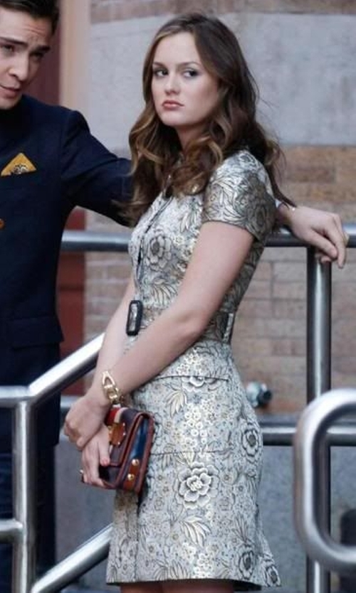 Leighton Meester with Burberry Prorsum Belted Brocade Dress in Gossip Girl