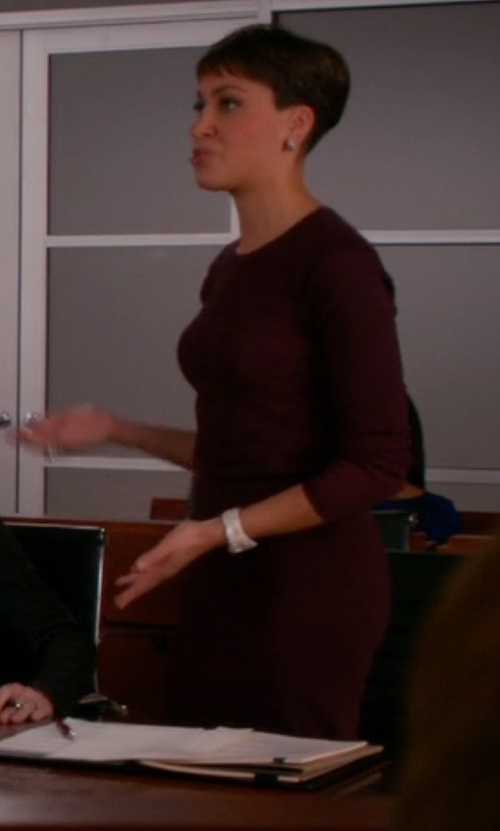 Cush Jumbo with Vince Bouclé Knit Dress in The Good Wife