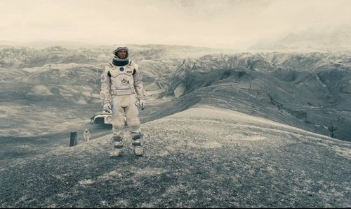 Matthew McConaughey with Svínafellsjökull Glacier (depicted as Dr. Mann's Planet) Iceland in Interstellar