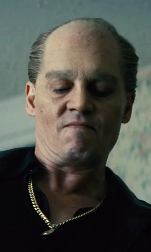 Johnny Depp with Smithstonean Inc. The Caesar X Gold Necklace in Black Mass