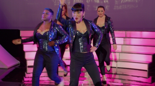 Hana Mae Lee with J. Crew Navy Sequin Accent Ankle Length Pants in Pitch Perfect 2