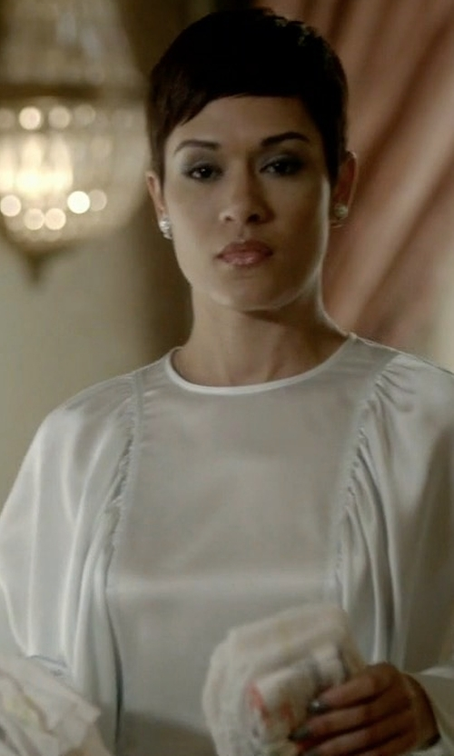Grace Gealey with Celine Satin Back Crepe Shirt in Empire