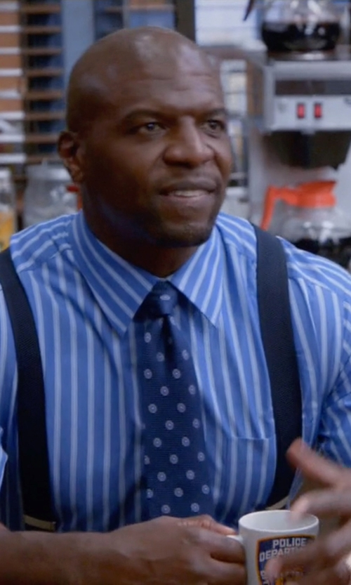 Terry Crews with Bugatchi Spread-Collar Striped Dress Shirt in Brooklyn Nine-Nine