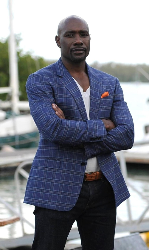 Morris Chestnut with Armani Collezioni Windowpane Sportcoat in Rosewood