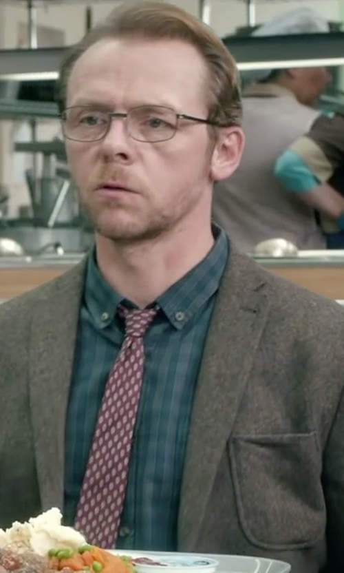 Simon Pegg with Brooks Brothers Pine Tree Print Tie in Absolutely Anything