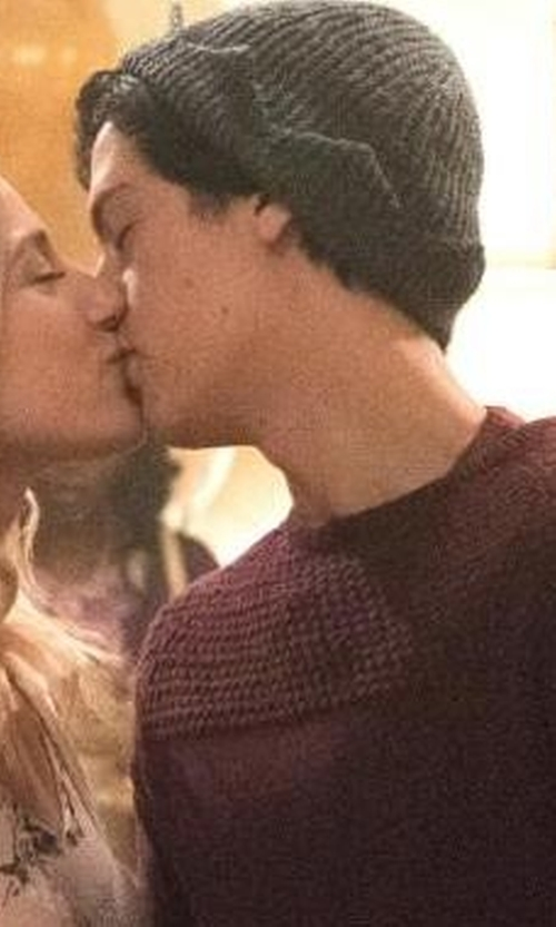 Cole Sprouse with Hala Bahmet Custom Made Knit Crown Beanie in Riverdale