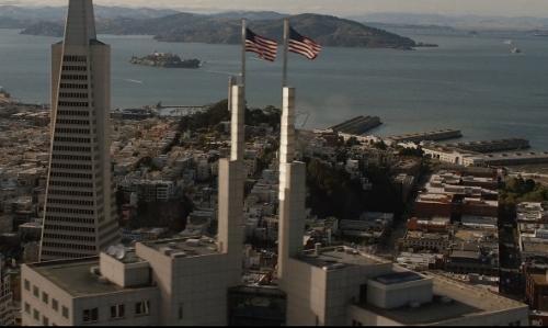 Unknown Actor with 345 California Center San Francisco, California in San Andreas
