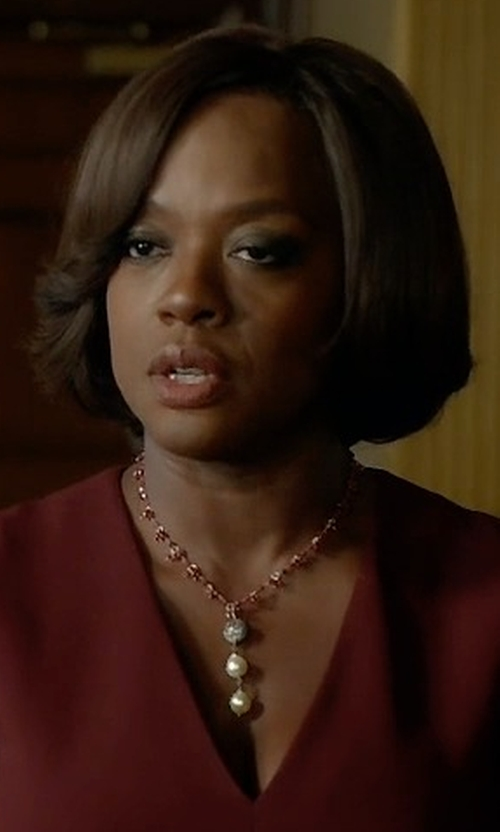 Viola Davis with Heidi Daus Faux Pearl Y Necklace in How To Get Away With Murder