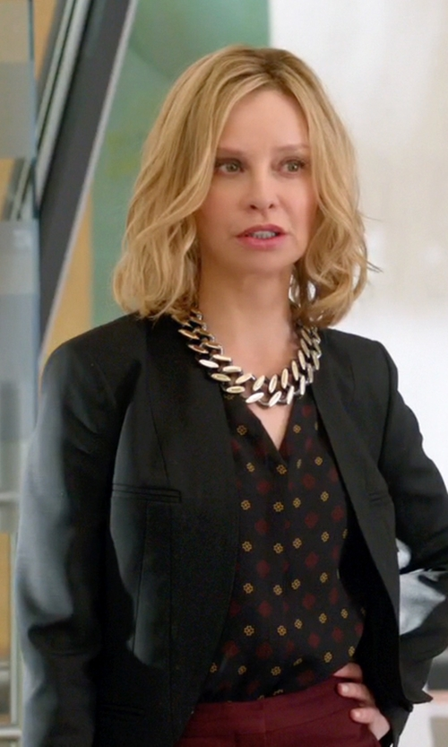Calista Flockhart with Diane Von Furstenberg Esti Blouse in Supergirl