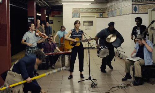 Keira Knightley with Broad Street (BMT Nassau Street Line) New York City, New York in Begin Again