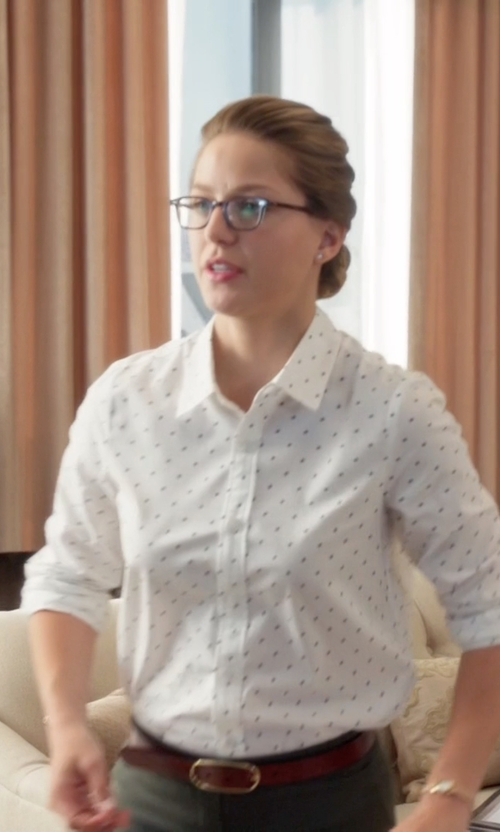 Melissa Benoist with Fossil Oval Centerbar Belt in Supergirl