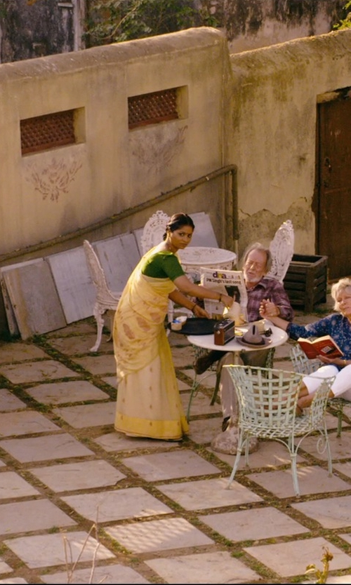 Lillete Dubey with Nova Haat Yellow Brasso Saree in The Second Best Exotic Marigold Hotel