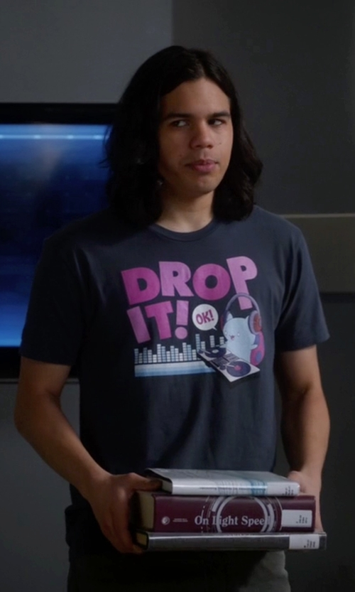 Carlos Valdes with Bravest Warriors  Catbug Drop It DJ Shirt in The Flash