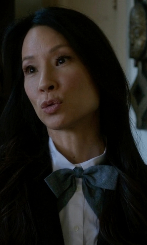 Lucy Liu with Tiemart Deep Gray Floppy Bow Tie in Elementary
