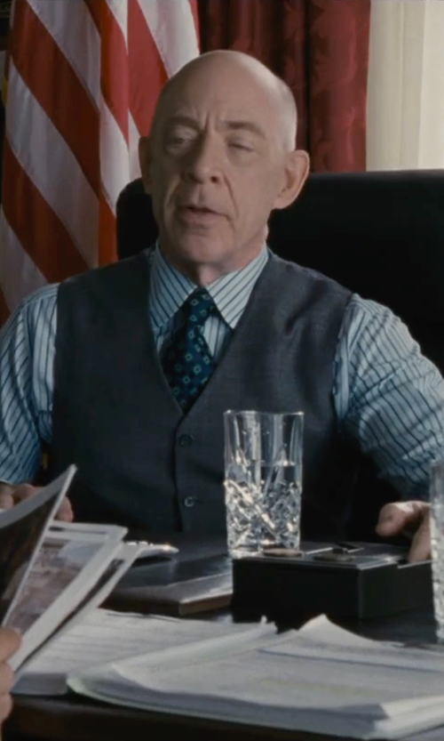 J.K. Simmons with David Donahue Trim Fit Stripe Dress Shirt in The Accountant