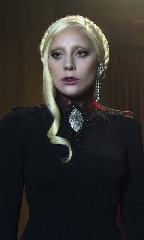 Lady Gaga with Peserico Punto Milano Sheath Dress in American Horror Story