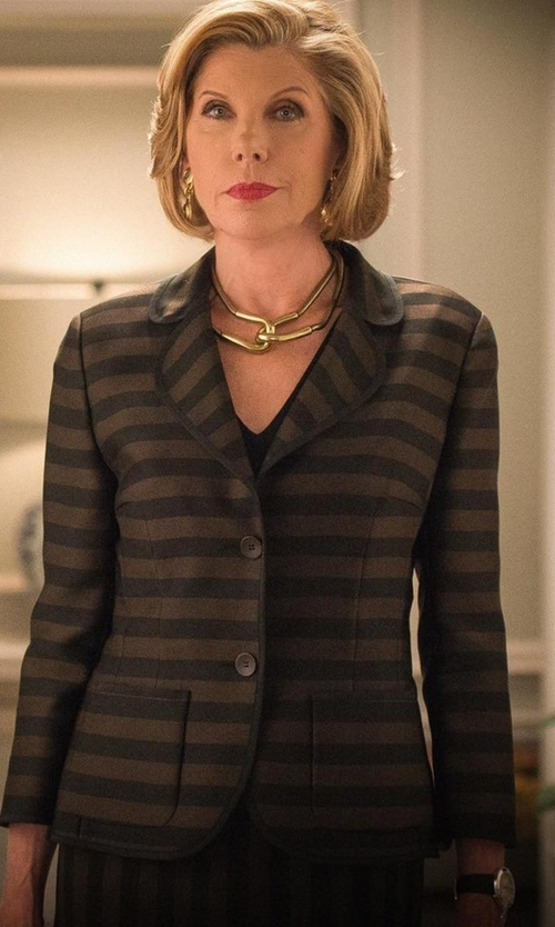 Christine Baranski with Jason Wu Engraved Bar Choker Necklace in The Good Wife