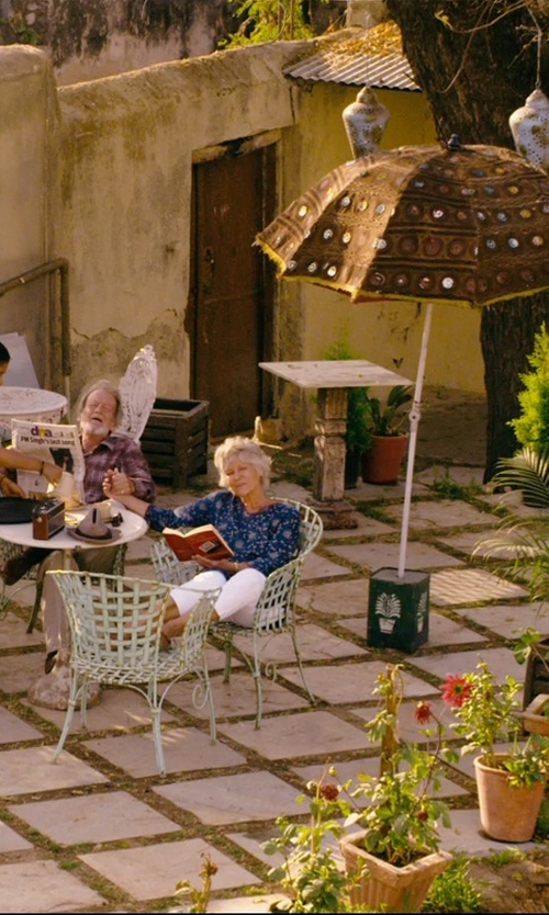 Diana Hardcastle with Parker 'Meade' Print Silk Blouse in The Second Best Exotic Marigold Hotel