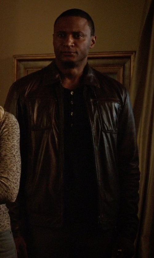 David Ramsey with Danier Hemingway Lamb Leather Jacket in Arrow