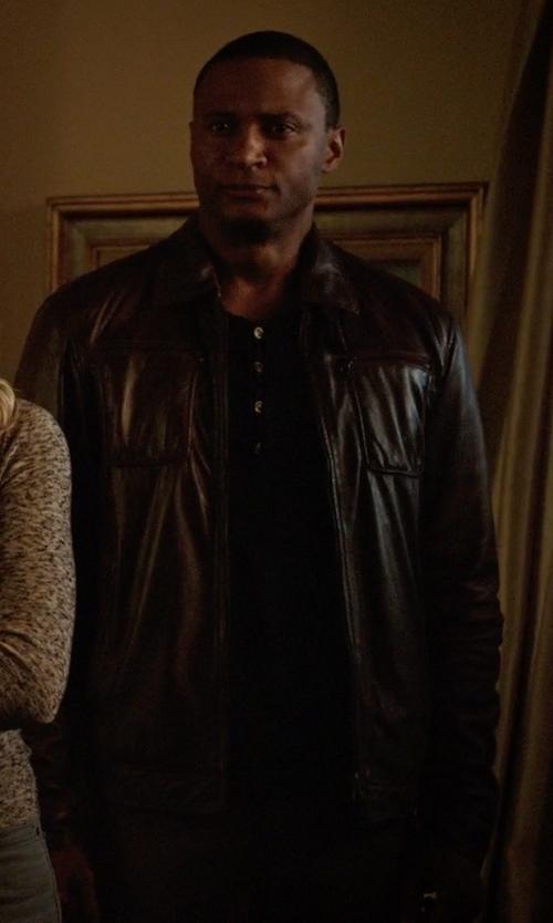David Ramsey with Danier Hemingway Lamb Leather Jacket in Arrow